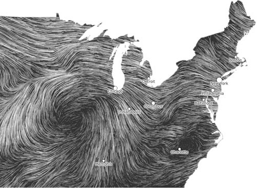 Wind Map Fernanda Viegas Martin Wattenberg - Us air flow map
