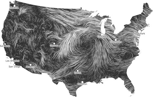 Wind Map Fernanda Viegas Martin Wattenberg - Wind map of the us